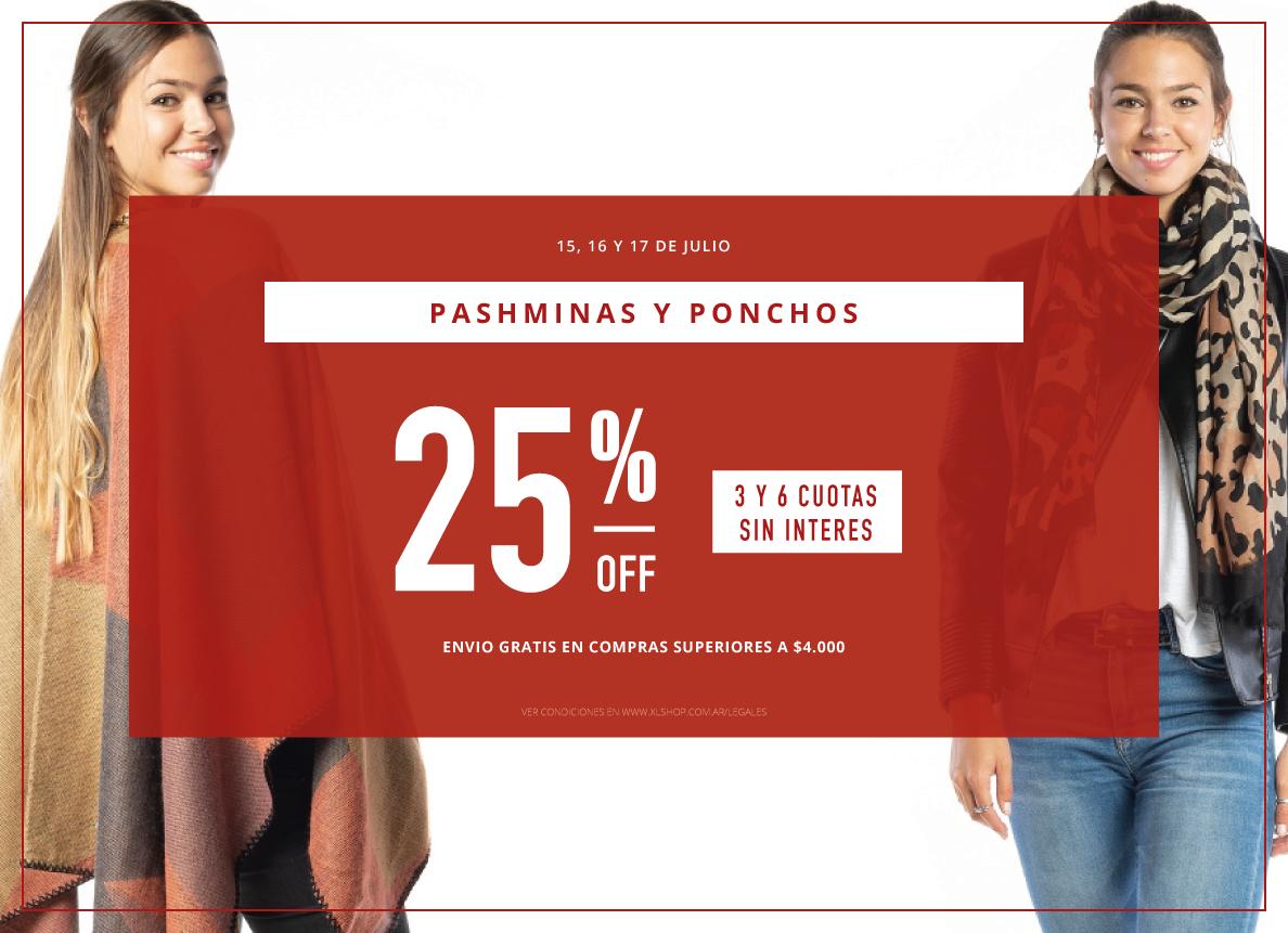 25% ponchos y pashminas